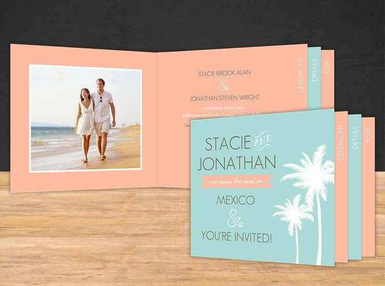 Tropical Destination Wedding Invitation Booklet