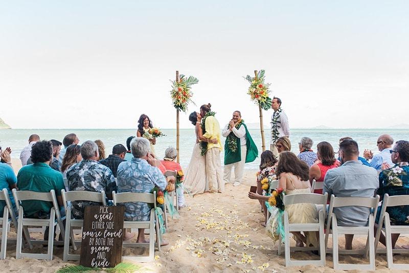 destination wedding private oahu beach 1996