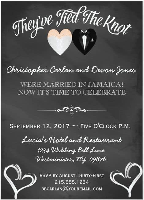 Chalkboard Post Destination Wedding Reception Invitations 19