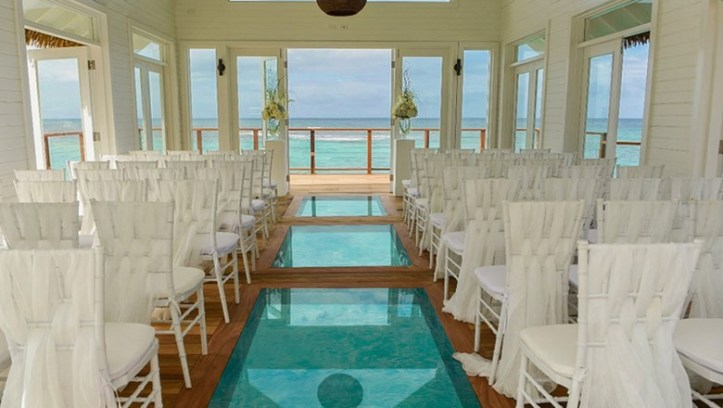 Over the Water Wedding Chapel Sandals Resorts
