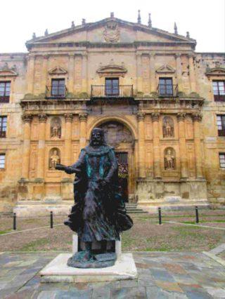 Sancho Garcés, a la puerta del Monasterio de Oña, que mandó fundar - Imagen de Tras las huellas de Herodoto