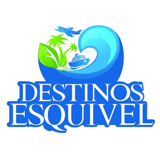 Logotipo que contiene una palmera, un yate navegando sobre una ola y un avión sobre ellos. En la parte inferior se lee Destinos Esquivel.