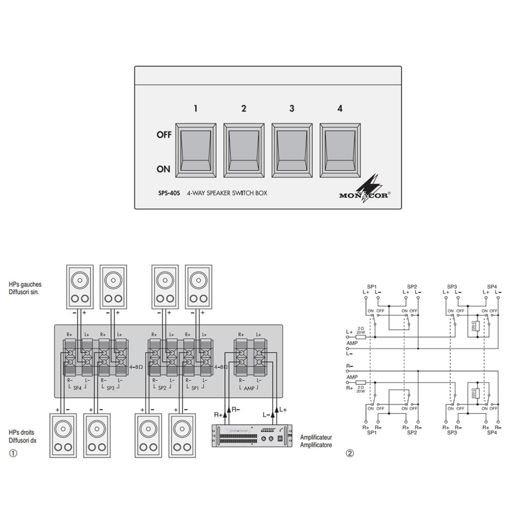 Monacor Sps 40s 4 Way Speaker Selector Box 200w