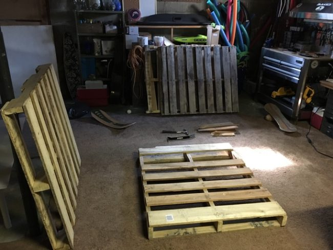 After searching far and wide for good pallets, he gathered three standard-sized ones.