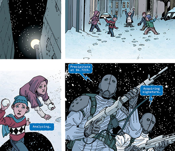 kids playing in the snow when soldiers interrupt