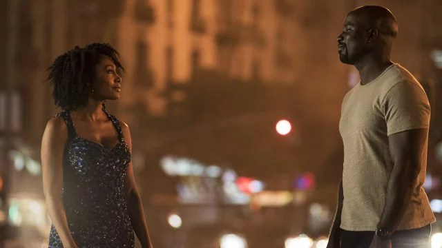 luke cage and misty gazing at each other