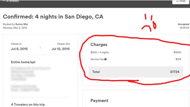 airbnb receipt