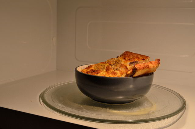 microwave pizza in a bowl