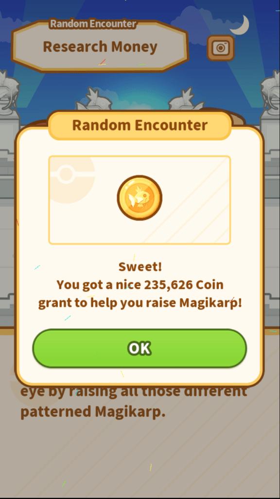 random event: coin bonus screen
