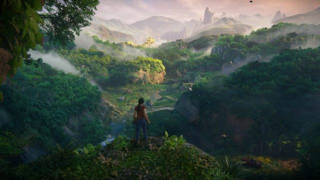 chloe stands looking out over the open world terrain