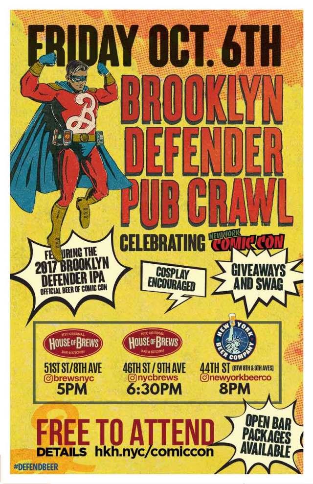 brooklyn defender pub crawl flyer