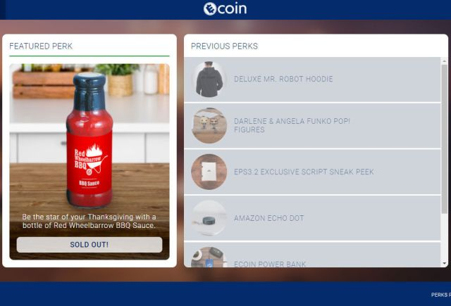 screenshot of ecoin perks page showing the current bbq sauce bottle perk as sold out