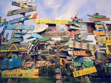 Pancartes bois voyage autour du monde
