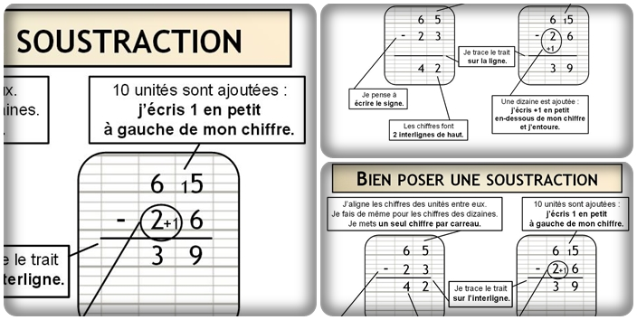 Bien poser une soustraction – 2 versions