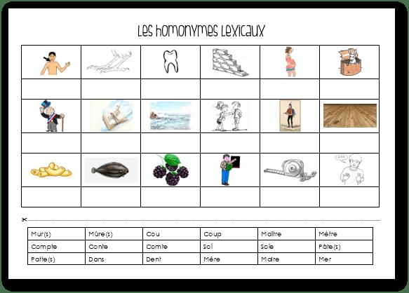 Homonymes lexicaux - CE1 CE2 CM1 CM2