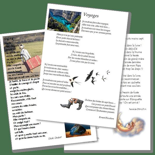 Poésies sur le thème du voyage, de l'évasion