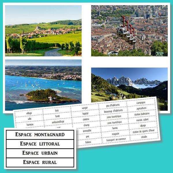 Des espaces pour vivre : espace rural, espace urbain, espace littoral, espace montagnard – CM1/CM2