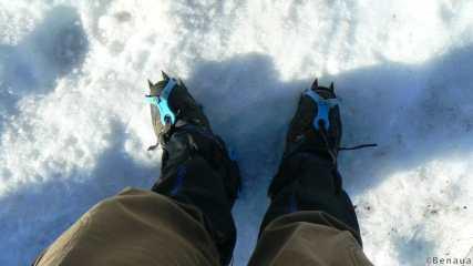 Crampons aux pieds sur le Villarica