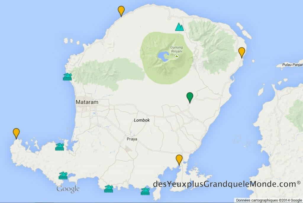 Les 5 plages de Lombok à ne pas manquer - Carte