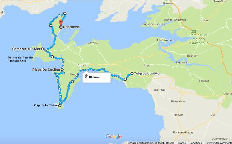 Carte-de-randonnée-autour-de-la-Presquile-de-Crozon
