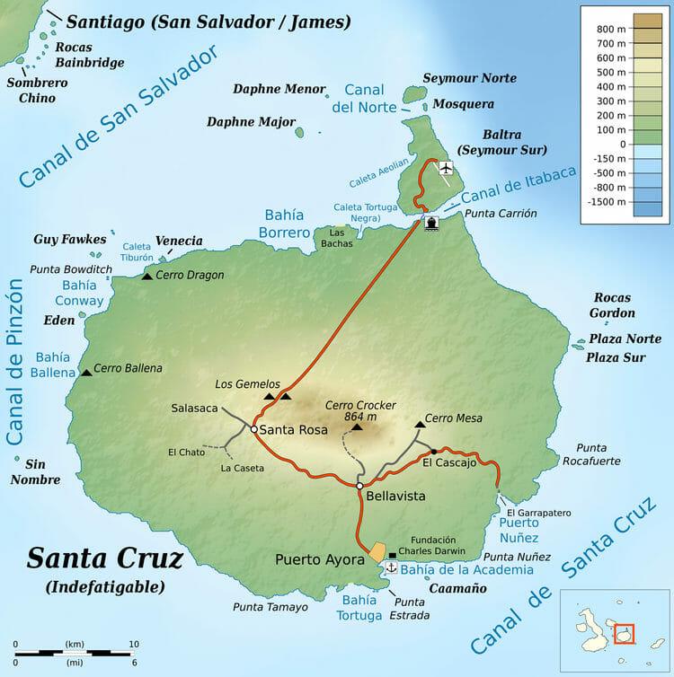 Carte île Santa Cruz - Ile Galapagos