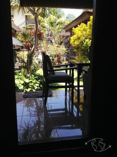 Bien se loger à Bali - vue de ma chambre dans un losmen