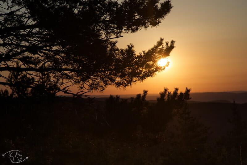 Chemin de Stevenson - Coucher de soleil sur le Mont Lozère