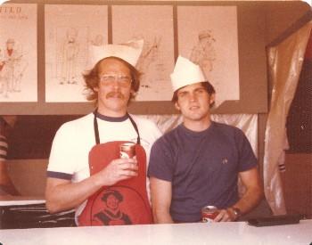 Paul Piusz and Dennis Warriner running the German American Fest Stand Berlin 1977