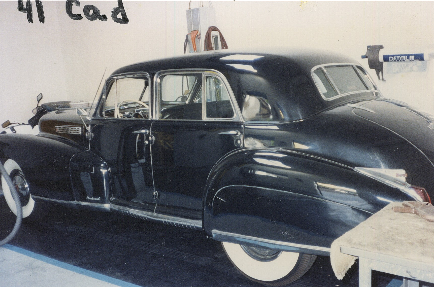 Old photo of classic vintage Cadillac at Rainbow Carwash Detail Plus in Sunnyvale, California