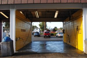 Yellow carwash bay at Rainbow Carwash Detail Plus in Sunnyvale, Ca
