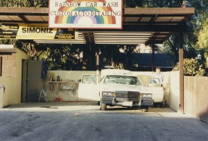Old photo of a car at the detail station at Rainbow Carwash Detail Plus in Sunnyvale, California