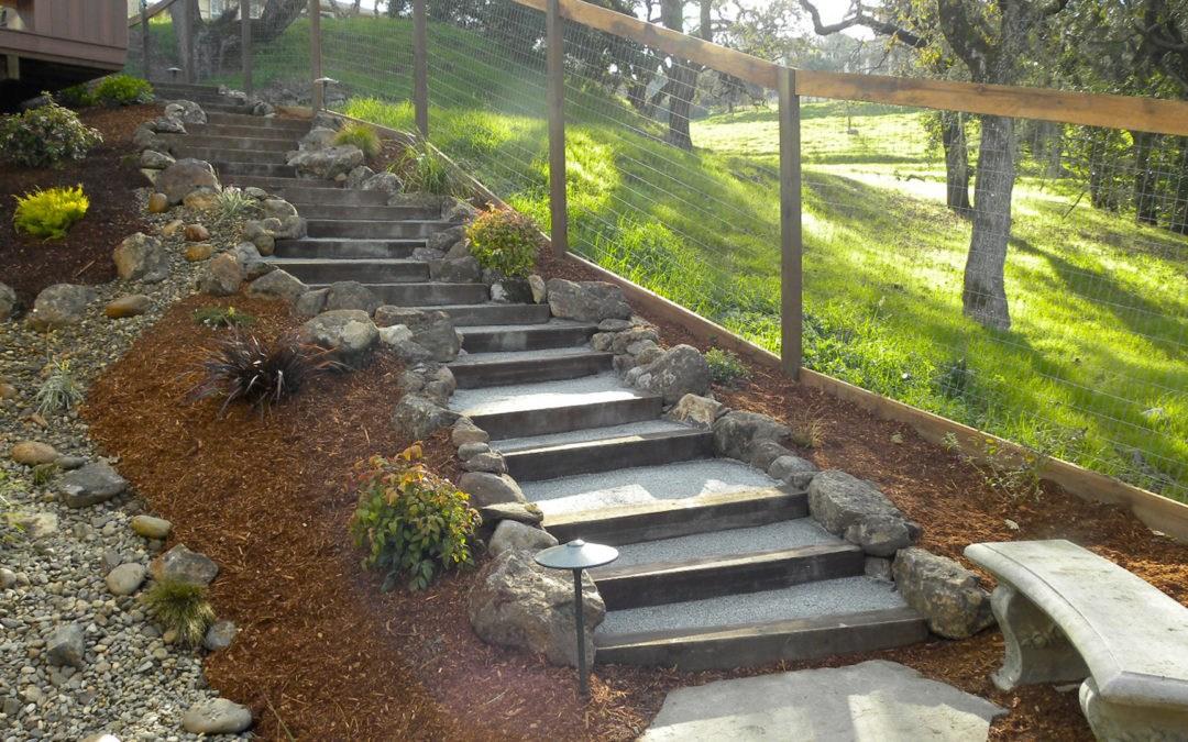 Pressure Treated Steps Transition Steep Grades Details Landscape Art   Pressure Treated Stair Handrail   Basic Deck   Deck Rail   Cedar   Guard   Concrete Step
