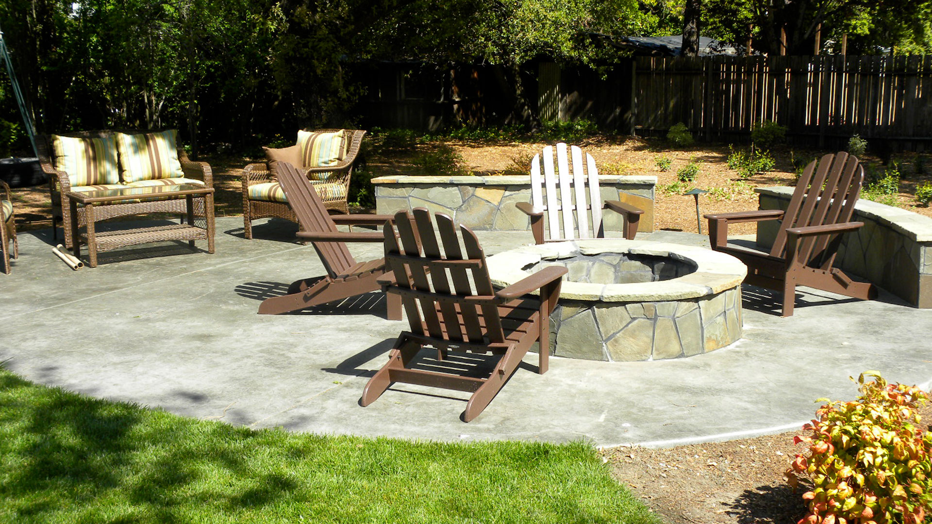 stamped concrete patio featuring