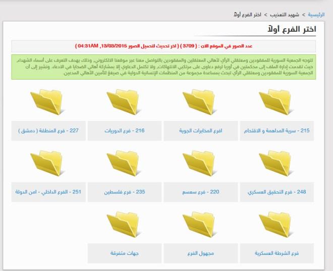 تصنيف صور المعتقلين وفق مكان الاستشهاد
