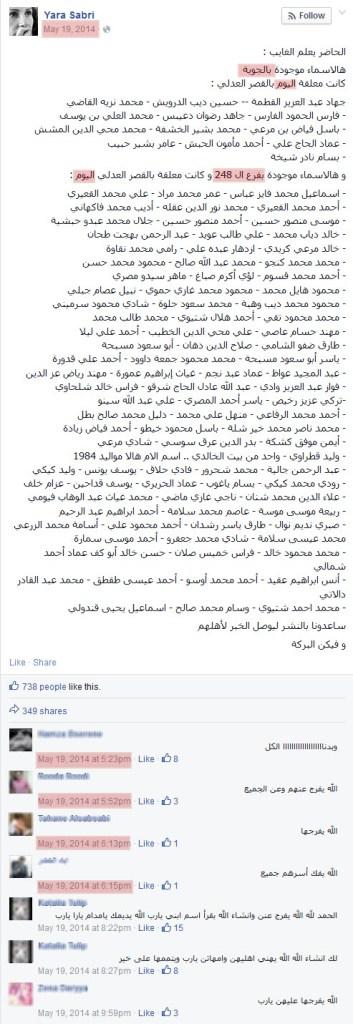 القائمة الأصلية لأسماء معتقلين معلقة في القصر العدلي بدمشق آيار-2014