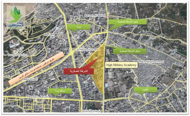 خريطة الوصول للشرطة العسكرية - دمشق - القابون