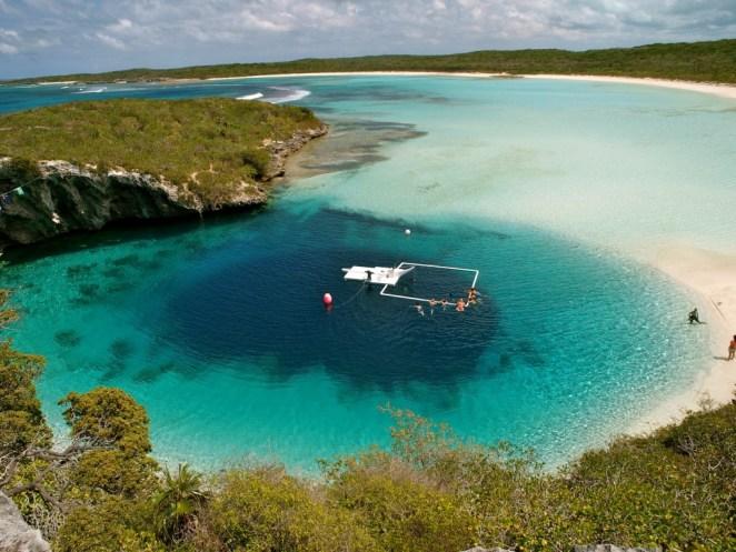 Dean's Blue Hole on Long Island in the Bahamas, 660 feet deep