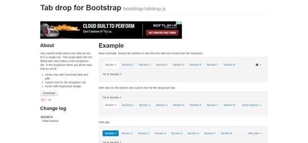 bootstrap tab drop