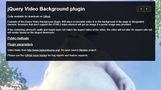 10) jQuery Video Background Plugin
