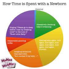 New mother pie chart about how the time is spent with a new born