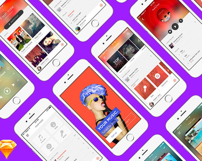 Music App FREE UI Kit for Sketch