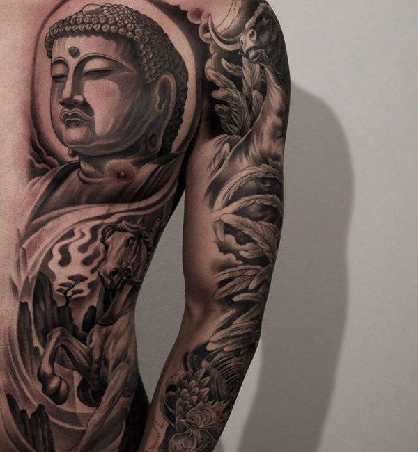 Buddhist Half Sleeve Tattoo: 25 Meaningful Buddha Tattoos For Spiritual Inspiration