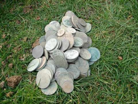 buried copper coins