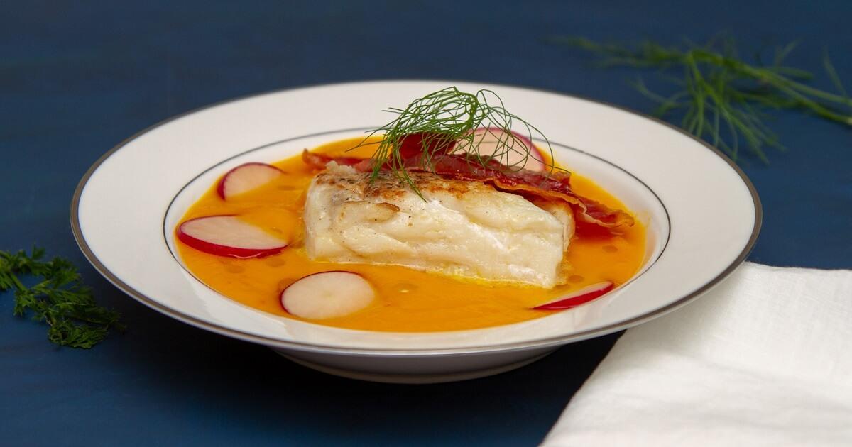 Gulrotsuppe med torsk, chili og ingefær