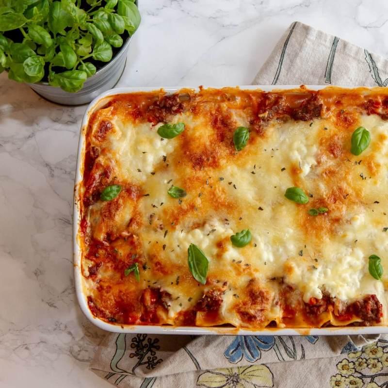 Sunnere lasagne med ostesaus av cottage cheese