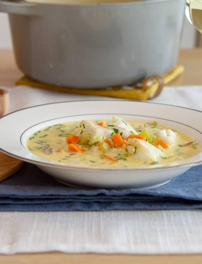 Enkel fiskesuppe med torsk