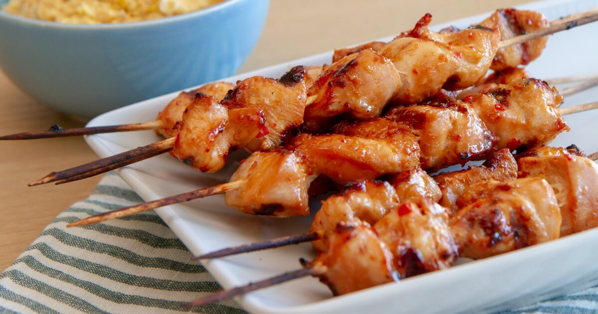 Asiatiske grillspyd med kylling