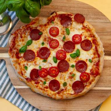 Eltefri pizza med pepperoni