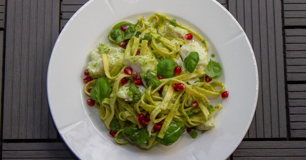 Torsk med pasta og pesto