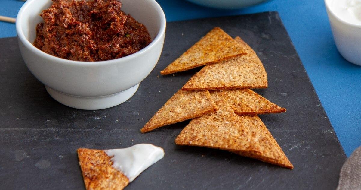 Tortillachips med chili og paprikakrydder